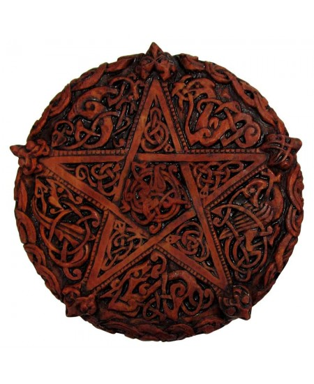Celtic Knotwork Pentacle Wood Finish Plaque - 5 Inches at Mystic Convergence Metaphysical Supplies, Metaphysical Supplies, Pagan Jewelry, Witchcraft Supply, New Age Spiritual Store