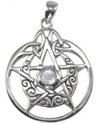 Crescent Moon Pentacle Sterling Silver Pendant with Gemstone Mystic Convergence Metaphysical Supplies Metaphysical Supplies, Pagan Jewelry, Witchcraft Supply, New Age Spiritual Store
