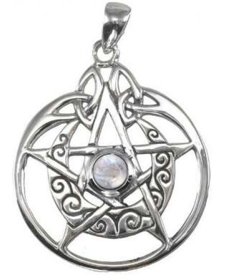 Crescent Moon Pentacle Sterling Silver Pendant with Gemstone at Mystic Convergence Metaphysical Supplies, Metaphysical Supplies, Pagan Jewelry, Witchcraft Supply, New Age Spiritual Store
