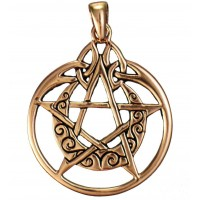 Crescent Moon Pentacle Pendant in Copper