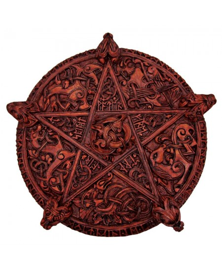 Knotwork Pentacle Large Wood Finish Plaque at Mystic Convergence Metaphysical Supplies, Metaphysical Supplies, Pagan Jewelry, Witchcraft Supply, New Age Spiritual Store