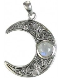 Crescent Moon Sterling Silver Pendant with Gemstone Mystic Convergence Metaphysical Supplies Metaphysical Supplies, Pagan Jewelry, Witchcraft Supply, New Age Spiritual Store