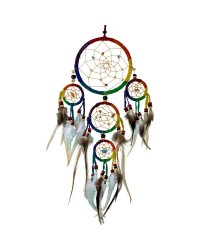 Rainbow Leather Dreamcatcher Mystic Convergence Magical Supplies Wiccan Supplies, Pagan Jewelry, Witchcraft Supplies, New Age Store