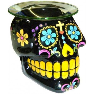 Black Sugar Skull Oil Burner Mystic Convergence Wicca Supplies, Pagan Jewelry, Witchcraft Supply, New Age Magick