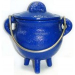 Blue Cast Iron Mini Cauldron with Lid at Mystic Convergence Metaphysical Supplies, Metaphysical Supplies, Pagan Jewelry, Witchcraft Supply, New Age Spiritual Store
