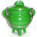 Green Cast Iron Mini Cauldron with Lid at Mystic Convergence Metaphysical Supplies, Metaphysical Supplies, Pagan Jewelry, Witchcraft Supply, New Age Spiritual Store
