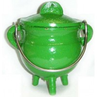 Green Cast Iron Mini Cauldron with Lid