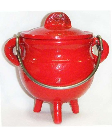 Red Cast Iron Mini Cauldron with Lid at Mystic Convergence Metaphysical Supplies, Metaphysical Supplies, Pagan Jewelry, Witchcraft Supply, New Age Spiritual Store