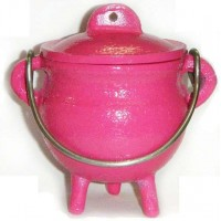 Pink Cast Iron Mini Cauldron with Lid