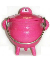 Pink Cast Iron Mini Cauldron with Lid Mystic Convergence Metaphysical Supplies Metaphysical Supplies, Pagan Jewelry, Witchcraft Supply, New Age Spiritual Store