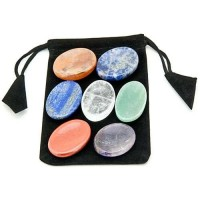 7 Chakra Worry Stone Set in Velvet Pouch