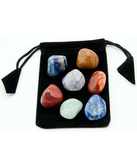 7 Chakra Tumbled Stone Set in Velvet Pouch at Mystic Convergence Metaphysical Supplies, Metaphysical Supplies, Pagan Jewelry, Witchcraft Supply, New Age Spiritual Store