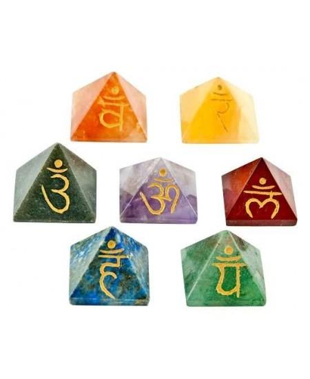 7 Chakra Gemstone Pyramid Set at Mystic Convergence Metaphysical Supplies, Metaphysical Supplies, Pagan Jewelry, Witchcraft Supply, New Age Spiritual Store