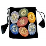 7 Carved Chakra Worry Stones in Velvet Pouch at Mystic Convergence Metaphysical Supplies, Metaphysical Supplies, Pagan Jewelry, Witchcraft Supply, New Age Spiritual Store