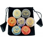 7 Carved Chakra Gem Stones in Velvet Pouch at Mystic Convergence Metaphysical Supplies, Metaphysical Supplies, Pagan Jewelry, Witchcraft Supply, New Age Spiritual Store