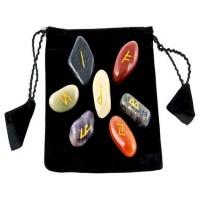 7 Chakra Rune Tumbled Stone Set in Velvet Pouch