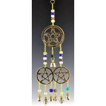 Triple Pentacle Brass Chime with Beads at Mystic Convergence Metaphysical Supplies, Metaphysical Supplies, Pagan Jewelry, Witchcraft Supply, New Age Spiritual Store