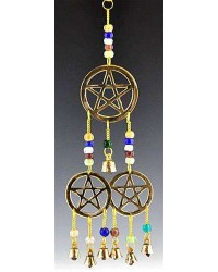 Triple Pentacle Brass Chime with Beads Mystic Convergence Metaphysical Supplies Metaphysical Supplies, Pagan Jewelry, Witchcraft Supply, New Age Spiritual Store