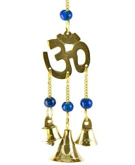 Om Symbol Brass Chime with Beads at Mystic Convergence Metaphysical Supplies, Metaphysical Supplies, Pagan Jewelry, Witchcraft Supply, New Age Spiritual Store