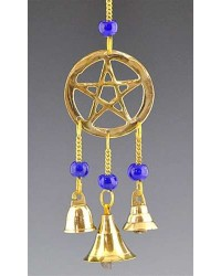 Pentacle Brass Chime with Beads Mystic Convergence Metaphysical Supplies Metaphysical Supplies, Pagan Jewelry, Witchcraft Supply, New Age Spiritual Store