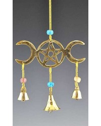 Triple Moon Brass Chime Mystic Convergence Metaphysical Supplies Metaphysical Supplies, Pagan Jewelry, Witchcraft Supply, New Age Spiritual Store