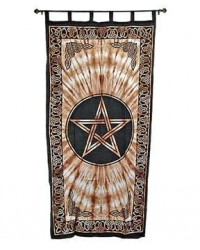 Pentacle Brown Curtain Mystic Convergence Metaphysical Supplies Metaphysical Supplies, Pagan Jewelry, Witchcraft Supply, New Age Spiritual Store