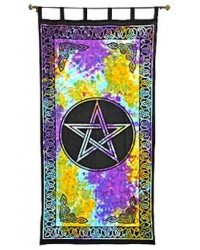 Pentacle Tie Die Curtain Mystic Convergence Metaphysical Supplies Metaphysical Supplies, Pagan Jewelry, Witchcraft Supply, New Age Spiritual Store