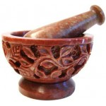 Flowers and Vine Carved Soapstone Mortar and Pestle Set