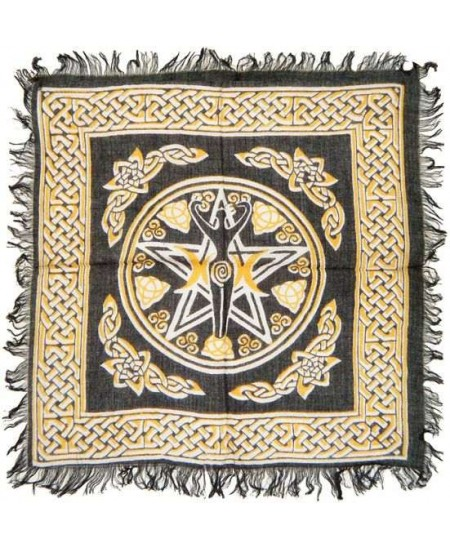 Goddess Pentacle Black and Gold Altar Cloth at Mystic Convergence Metaphysical Supplies, Metaphysical Supplies, Pagan Jewelry, Witchcraft Supply, New Age Spiritual Store