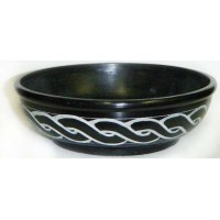 Celtic Black Soapstone Smudge Pot or Scrying Bowl