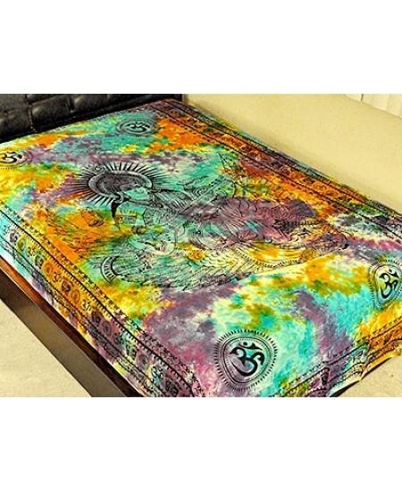 Goddess Saraswati Tie Dye Cotton Tapestry