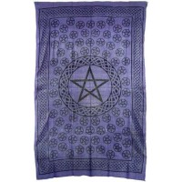 Pentagram Purple Cotton Full Size Tapestry