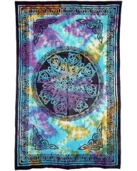 Celtic Knot Multi-Color Tie Dye Cotton Full Size Tapestry Mystic Convergence Metaphysical Supplies Metaphysical Supplies, Pagan Jewelry, Witchcraft Supply, New Age Spiritual Store