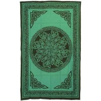 Celtic Knot Green Cotton Full Size Tapestry