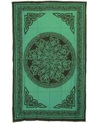 Celtic Knot Green Cotton Full Size Tapestry Mystic Convergence Metaphysical Supplies Metaphysical Supplies, Pagan Jewelry, Witchcraft Supply, New Age Spiritual Store
