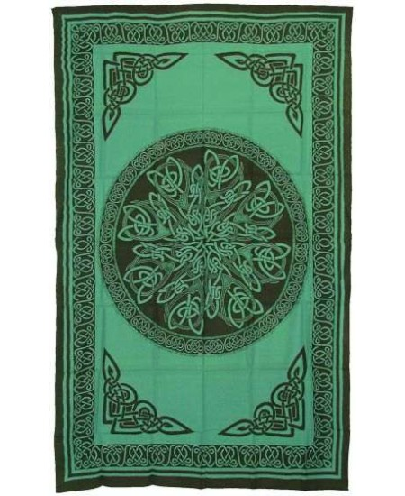 Celtic Knot Green Cotton Full Size Tapestry at Mystic Convergence Metaphysical Supplies, Metaphysical Supplies, Pagan Jewelry, Witchcraft Supply, New Age Spiritual Store