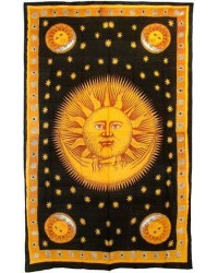 Solar Eclipse Gold Tapestry Bedspread Mystic Convergence Metaphysical Supplies Metaphysical Supplies, Pagan Jewelry, Witchcraft Supply, New Age Spiritual Store