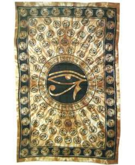 Egyptian Eye of Horus Bedspread - Brown at Mystic Convergence Metaphysical Supplies, Metaphysical Supplies, Pagan Jewelry, Witchcraft Supply, New Age Spiritual Store