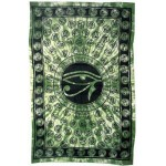 Egyptian Eye of Horus Bedspread - Green at Mystic Convergence Metaphysical Supplies, Metaphysical Supplies, Pagan Jewelry, Witchcraft Supply, New Age Spiritual Store