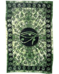 Egyptian Eye of Horus Bedspread - Green Mystic Convergence Metaphysical Supplies Metaphysical Supplies, Pagan Jewelry, Witchcraft Supply, New Age Spiritual Store