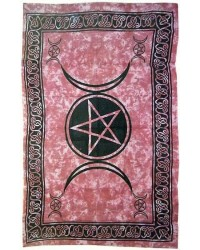 Pentagram Triple Moon Red Cotton Full Size Tapestry Mystic Convergence Metaphysical Supplies Metaphysical Supplies, Pagan Jewelry, Witchcraft Supply, New Age Spiritual Store