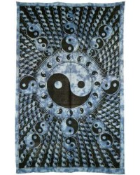 Yin Yang Blue Cotton Full Size Tapestry Mystic Convergence Metaphysical Supplies Metaphysical Supplies, Pagan Jewelry, Witchcraft Supply, New Age Spiritual Store