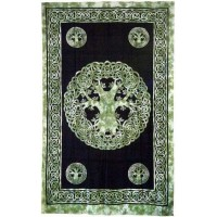 Green Tree of Life Celtic Cotton Full Size Tapestry