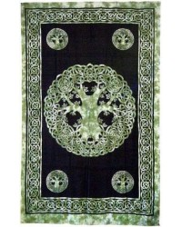 Green Tree of Life Celtic Cotton Full Size Tapestry Mystic Convergence Metaphysical Supplies Metaphysical Supplies, Pagan Jewelry, Witchcraft Supply, New Age Spiritual Store