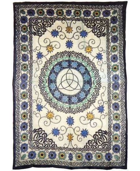 Floral Triquetra Charmed Cotton Full Size Tapestry at Mystic Convergence Metaphysical Supplies, Metaphysical Supplies, Pagan Jewelry, Witchcraft Supply, New Age Spiritual Store