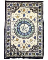 Floral Pentacle Cotton Full Size Tapestry Mystic Convergence Metaphysical Supplies Metaphysical Supplies, Pagan Jewelry, Witchcraft Supply, New Age Spiritual Store