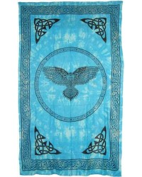 Owl Turquoise Blue Full Size Cotton Tapestry Mystic Convergence Metaphysical Supplies Metaphysical Supplies, Pagan Jewelry, Witchcraft Supply, New Age Spiritual Store