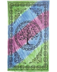Tree of Life Tie Dye Cotton Full Size Bedspread Mystic Convergence Metaphysical Supplies Metaphysical Supplies, Pagan Jewelry, Witchcraft Supply, New Age Spiritual Store