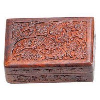 Floral Carved Wooden 6 Inch Box
