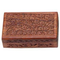 Floral Carved Wooden 8 Inch Box